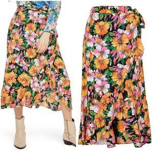 Topshop Heavy Petal Print Wrap Skirt US sz 12